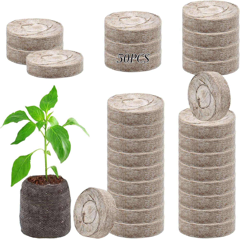 ZeeDix 50pcs 2in Peat Pellet Fiber Soil Plant Seed Starters Plugs Pallet Seedling Soil Block, Seed Fertilizer Nutrient Block Compressed Peat Block