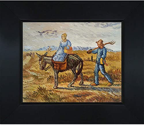 overstockArt Van Gogh Peasant Couple Going To Work with New Age Wood Frame, Black Finish