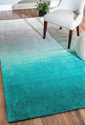 nuLOOM Shag Rectangle Area Rug 8'x10' Turquoise Ombre Collection