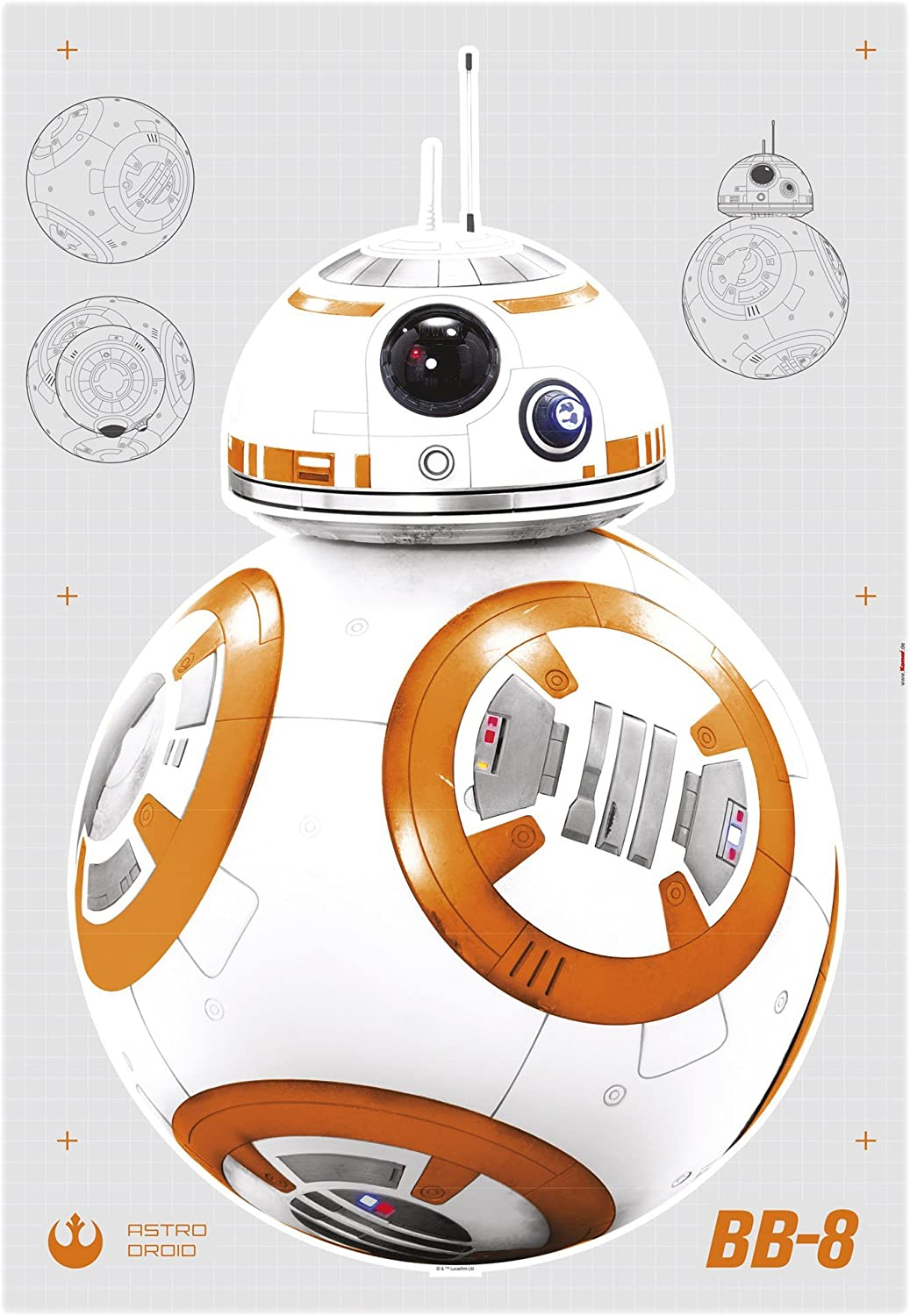 14726h Disney Multicoloured Star Wars Bb 8 Komar Wallpaper
