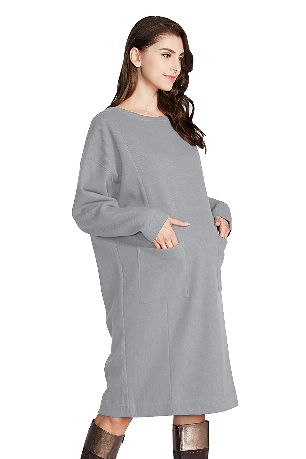 Sweet Mommy Maternity and Nursing Front Pocket Warm Lining Dress bo6117