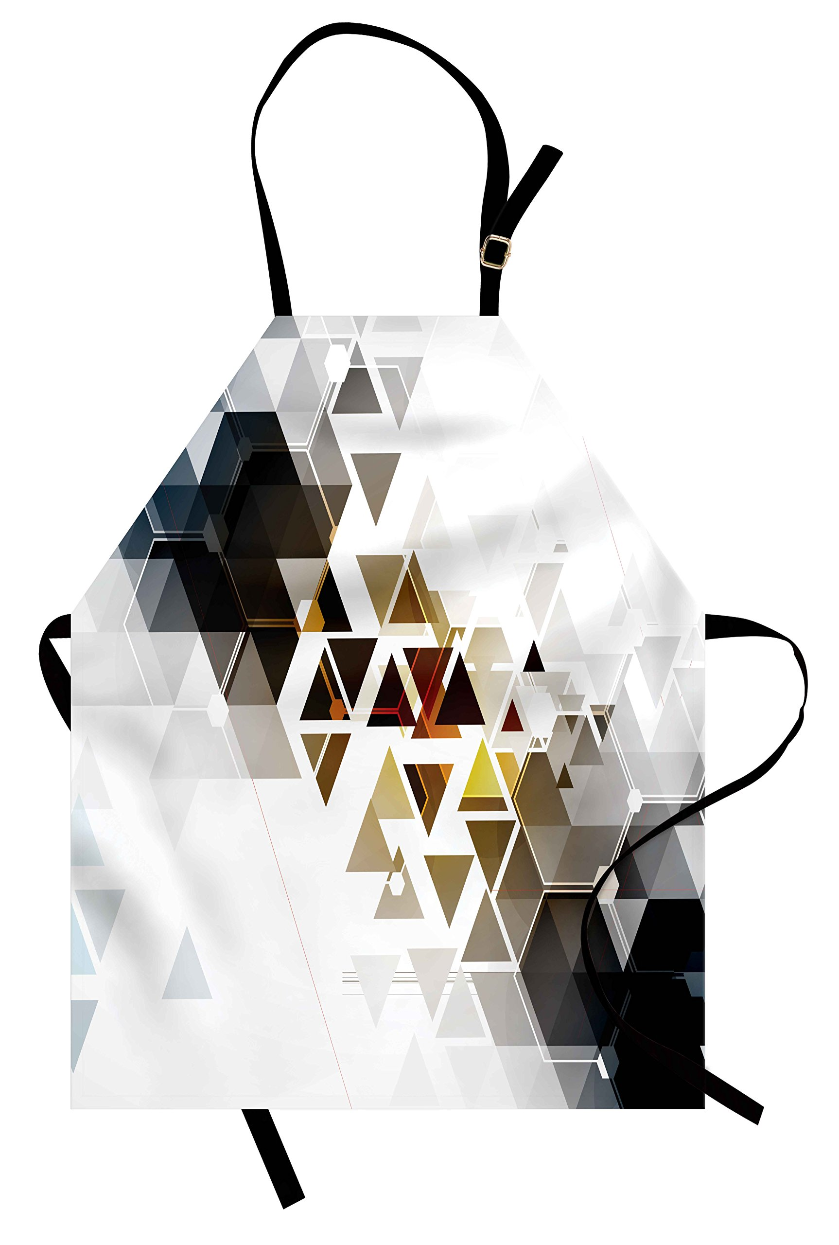 Lunarable Modern Apron, Abstract Technology Themed Image with Honey Bee Comb Geometric Shapes Image Art, Unisex Kitchen Bib Apron with Adjustable Neck for Cooking Baking Gardening, Multicolor