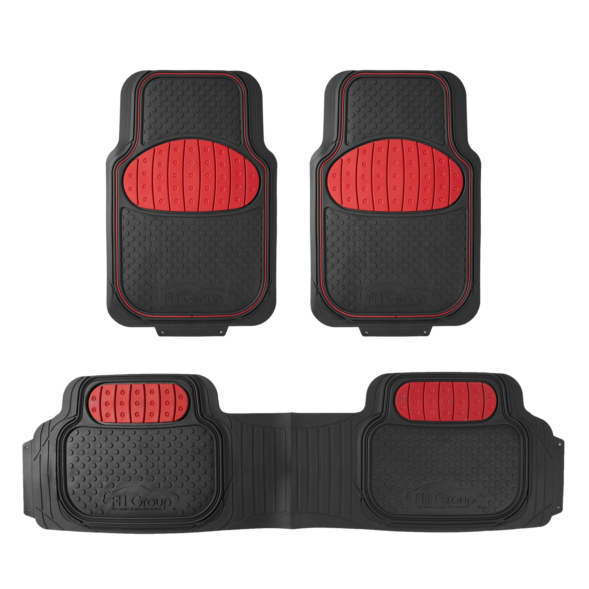 FH Group F11500RED Heavy Duty Touchdown Rubber Floor Mat (Red Full Set Trim to Fit)