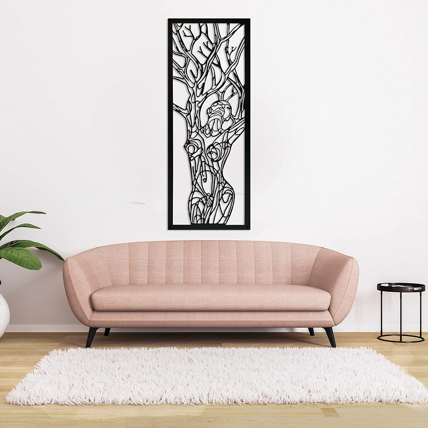 "Minimalist Line Art Woman, Tree of Life, Large Metal Wall Decor, Aesthetic Design Gothic Home Decor for Room, Wall Art, Work Art, Personalized Gift (38"" x 14"")"