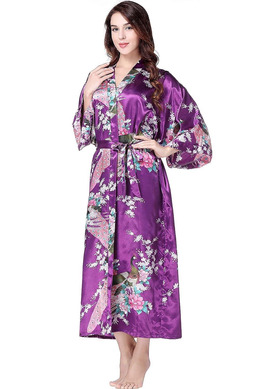 BABEYOND Damen Morgenmantel Maxi Lang Seide Satin Kimono Kleid Pfau Muster Kimono Bademantel Damen Lange Robe Schlafmantel Girl Pajama Party 135cm Lang