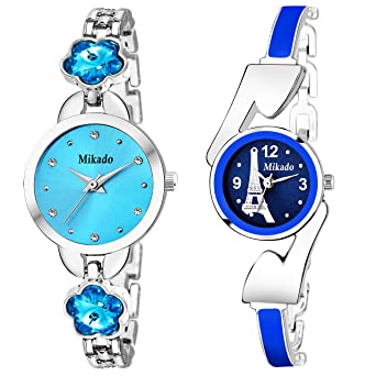cbbba8094 Buy Mikado Artistic Blue Bracelet Princess Stone Analog Watches Combo for  Girls and Women Online at Low Prices in India - Amazon.in