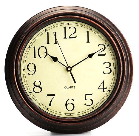 Bekith redondo clásico reloj Retro Silencioso de cuarzo decorativo reloj de pared, 30,48