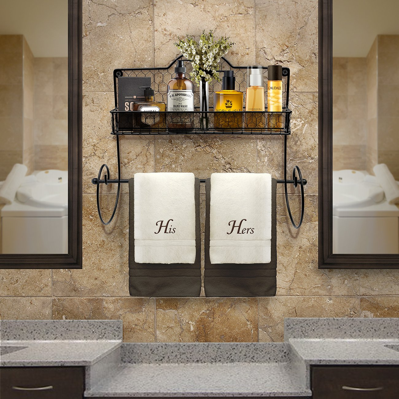 Sorbus Paper Towel Holder, Spice Rack and Multi-Purpose Shelf—Wall Mounted Storage for Kitchen Accessories, Towels, Toiletries, Supplies, etc.—Ideal for Kitchen/Bathroom—Made of Steel (Black) by Sorbus (Image #5)