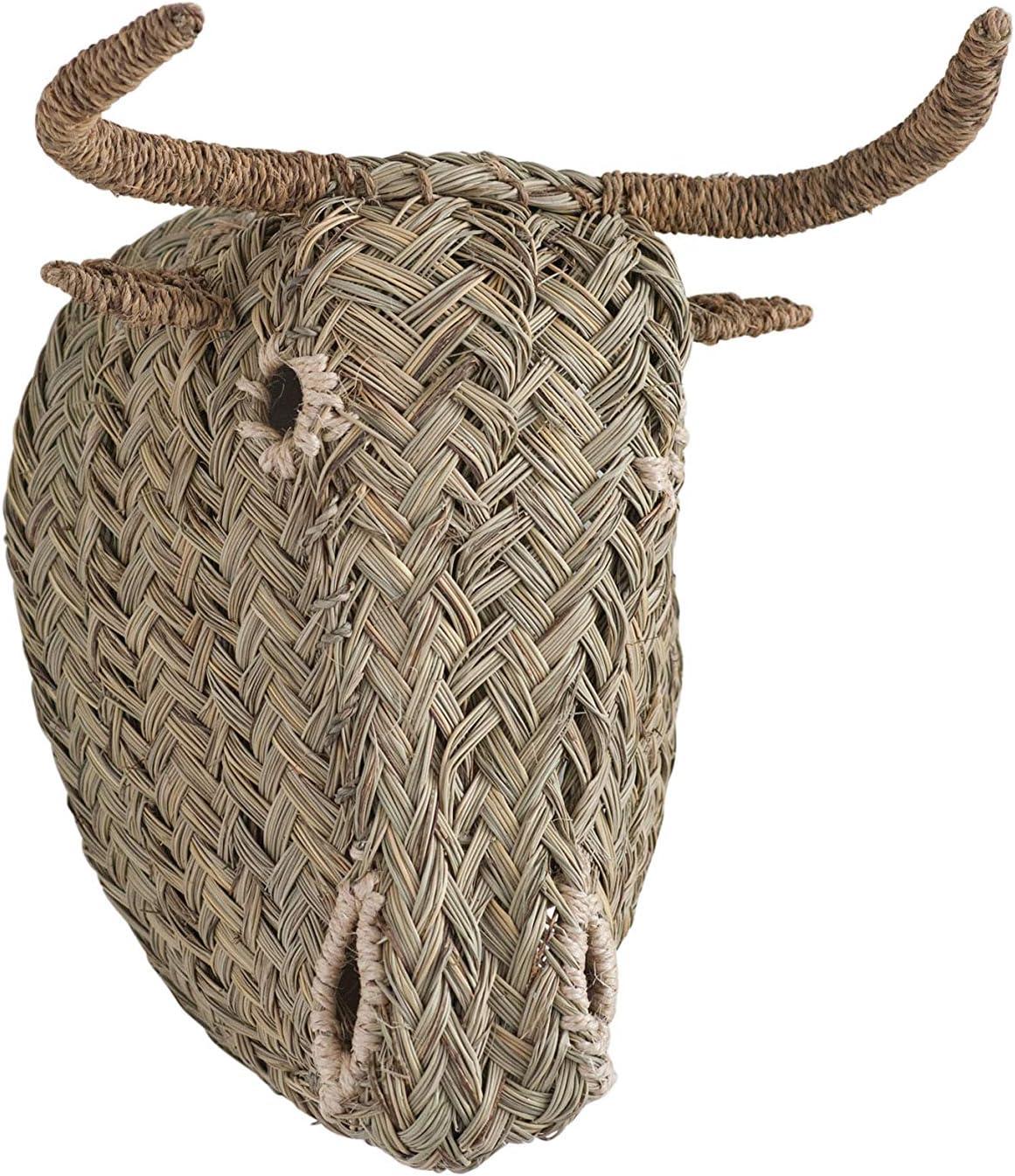 Creative Co-op 手織り モロッコ牛頭 壁飾り ブラウン