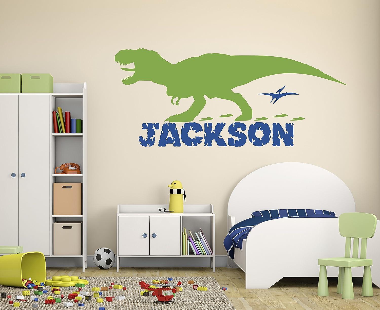 Amazon Com Personalized Boy Name Dinosaur Wall Decals Nursery Room Wall Decor Custom Wall Decal Vinyl Art Decor For Kids Room Baby