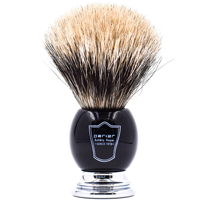 Parker Safety Razor Handmade Deluxe Long Loft 100% Pure Badger Shaving Brush with Black & Chrome Handle - Brush Stand Included BLACKCHRPB