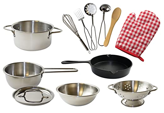 Kangaroo's Deluxe Kitchen Pots N Pan Set, 12 Piece Play Set