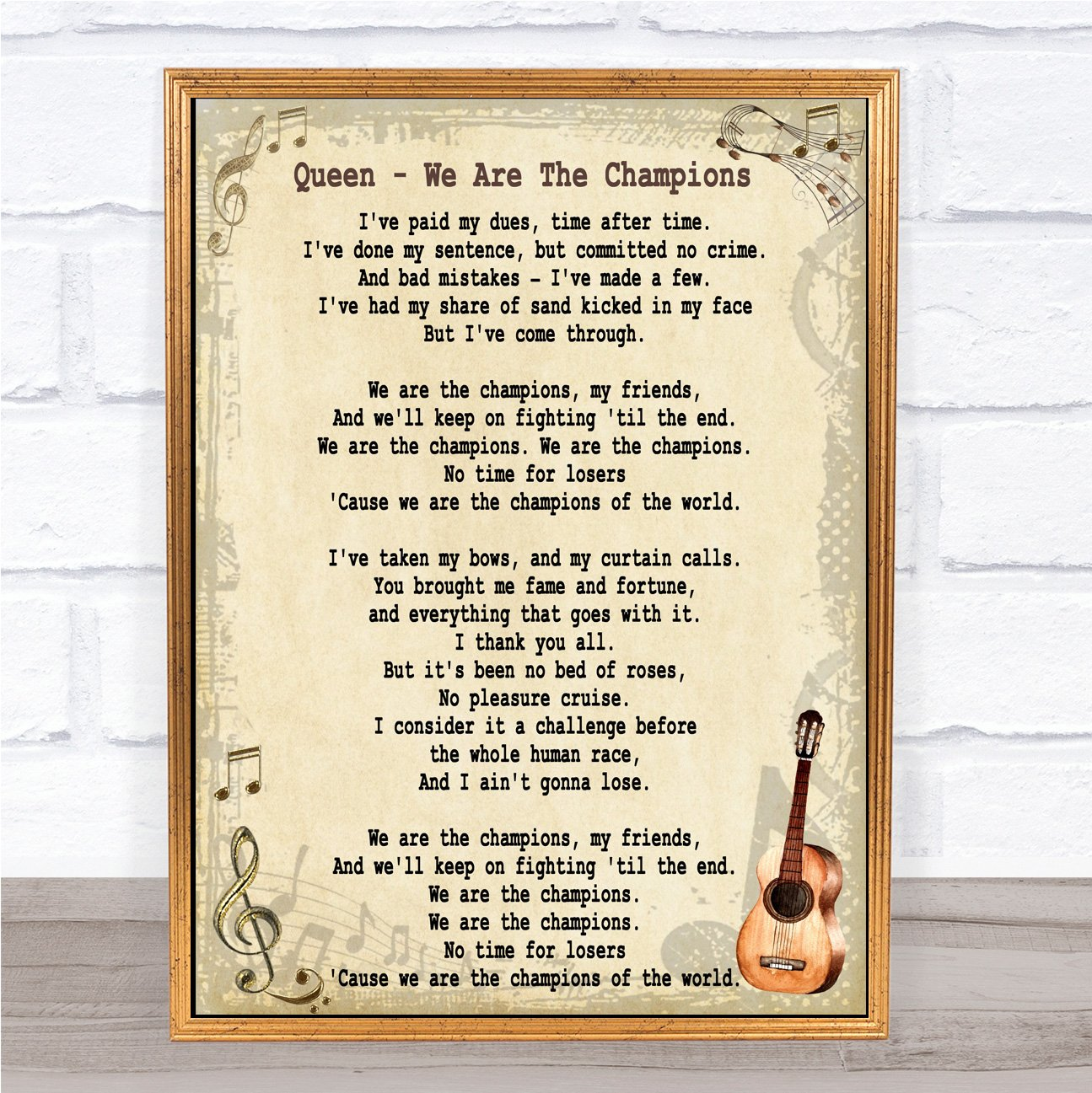 Amazon com: We are The Champions Song Lyric Vintage Quote