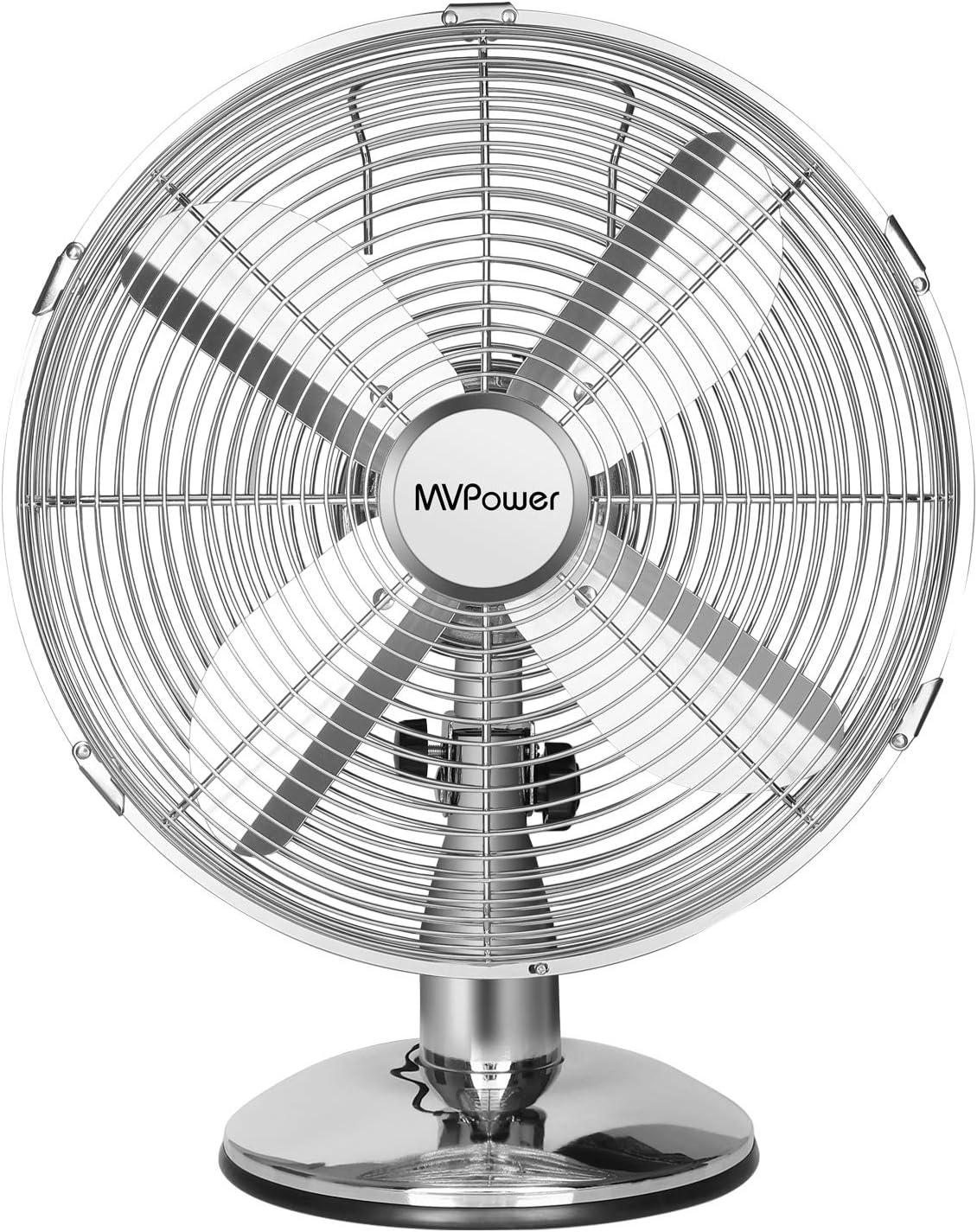 MVPower Ventilador de Mesa, Ventilador de Escritorio de 12 Pulgadas, diámetro de 34,5 cm con 3 Niveles de Velocidad, oscilación conmutable de 75 °, 35 W, Metal Cromado