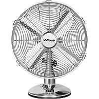 MVPower Retro Tafelventilator Ventilator tafel Ventilator Ventilatoren Chroom 35W-12Inch-3 snelheden