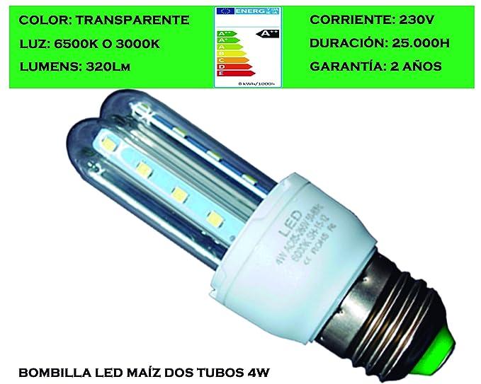 Tubombiled - Bombilla LED Maíz Dos Tubos Transparentes E27 4W Luz Fría o Luz Cálida (