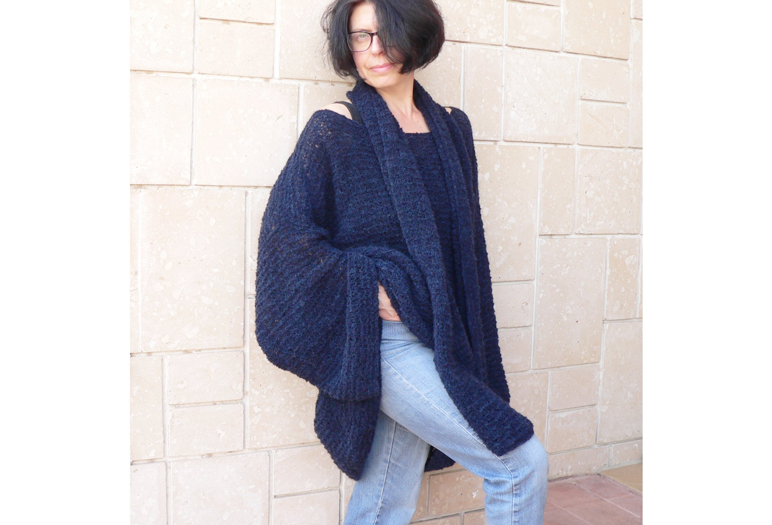Women Navy Blue Mohair Sweater & Long Scarf