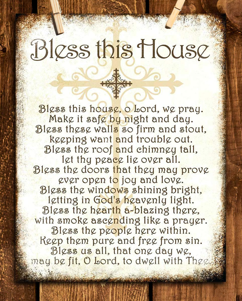 """Bless This House, O Lord, We Pray- Distressed Parchment Print- 8 x 10"" Wall Art- Ready to Frame. Traditional Script Design-Home Décor- Kitchen Décor- Christian Gifts. Inspirational Prayer For All."