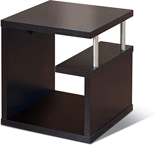 Furniture of America Level Modern One Bottom Shelf, Versatile End Table, Espresso