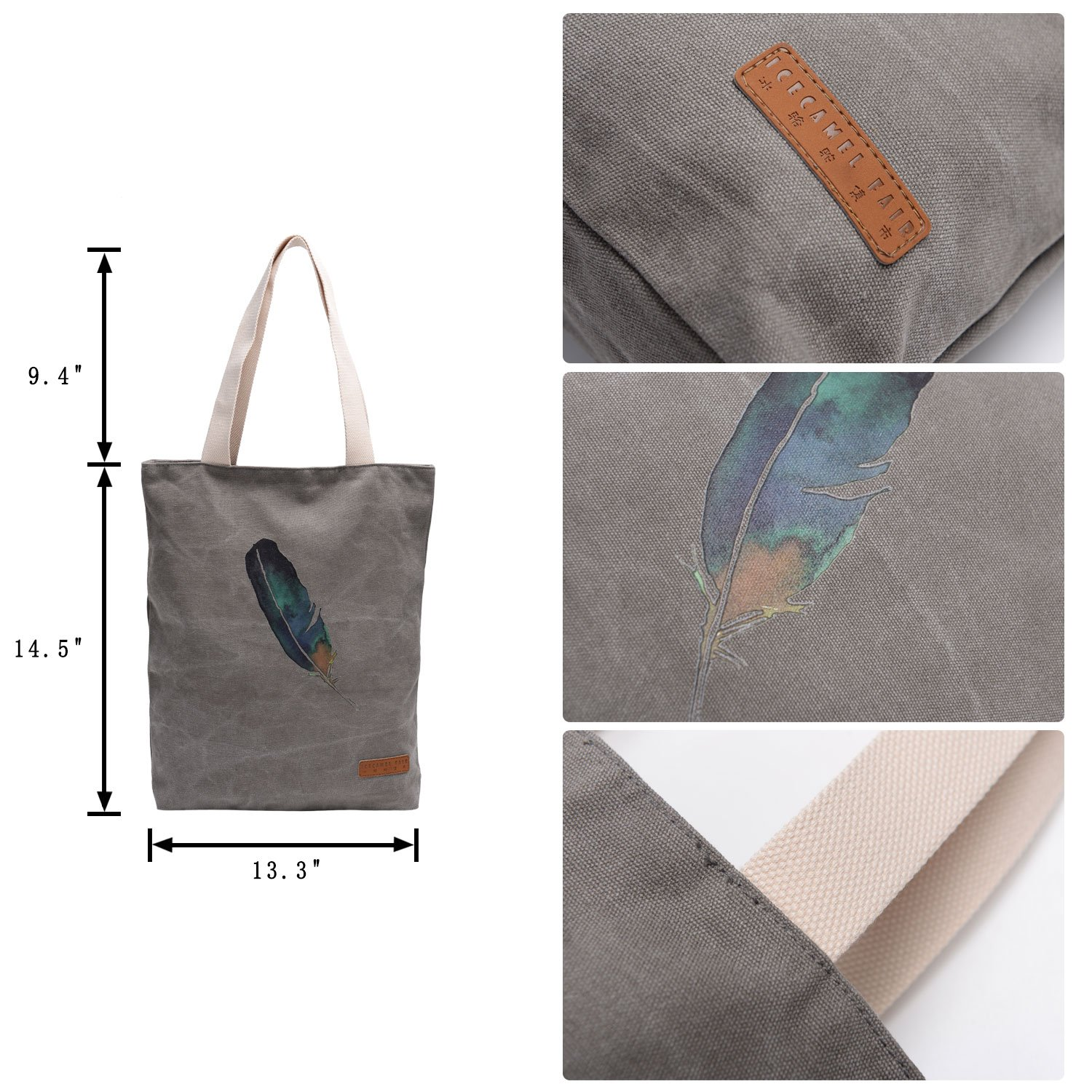 cd17a1f91 Amazon.com: Vintga Simple Korean Large Heavy Duty Canvas Tote Bag Printed  Design,Perfect for Shopping, Laptop, School Books (Cold Gray,A Feather Gray  Bag ...