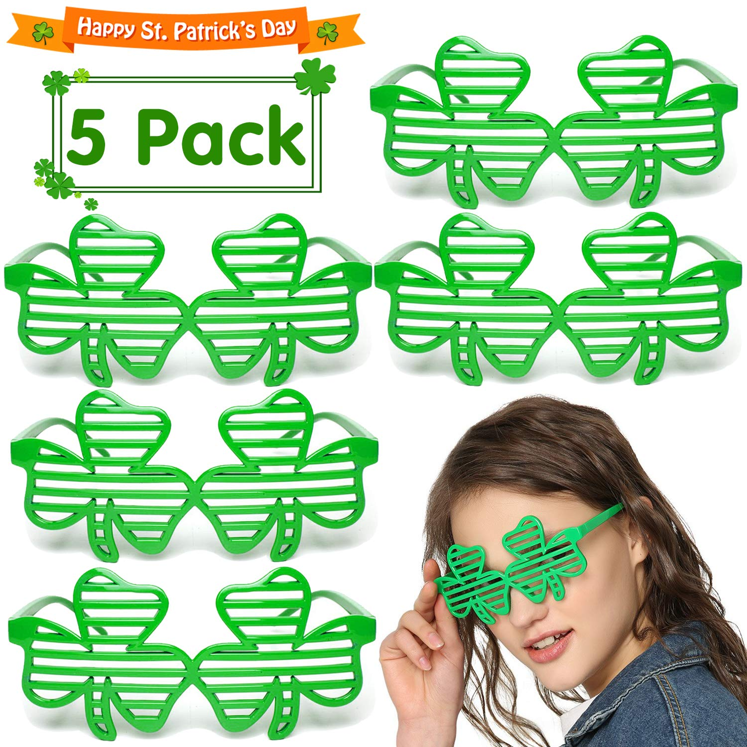 5 Pack Shamrock Sunglasses St Patricks Day Party Favors Supplies