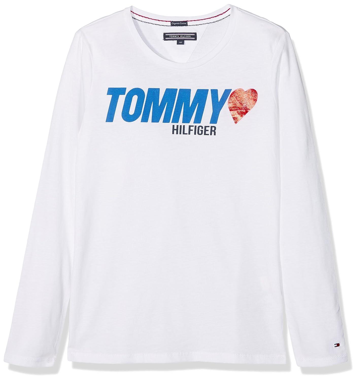 Tommy Hilfiger Mädchen T-Shirt AME Heart Tee L/S KG0KG03428