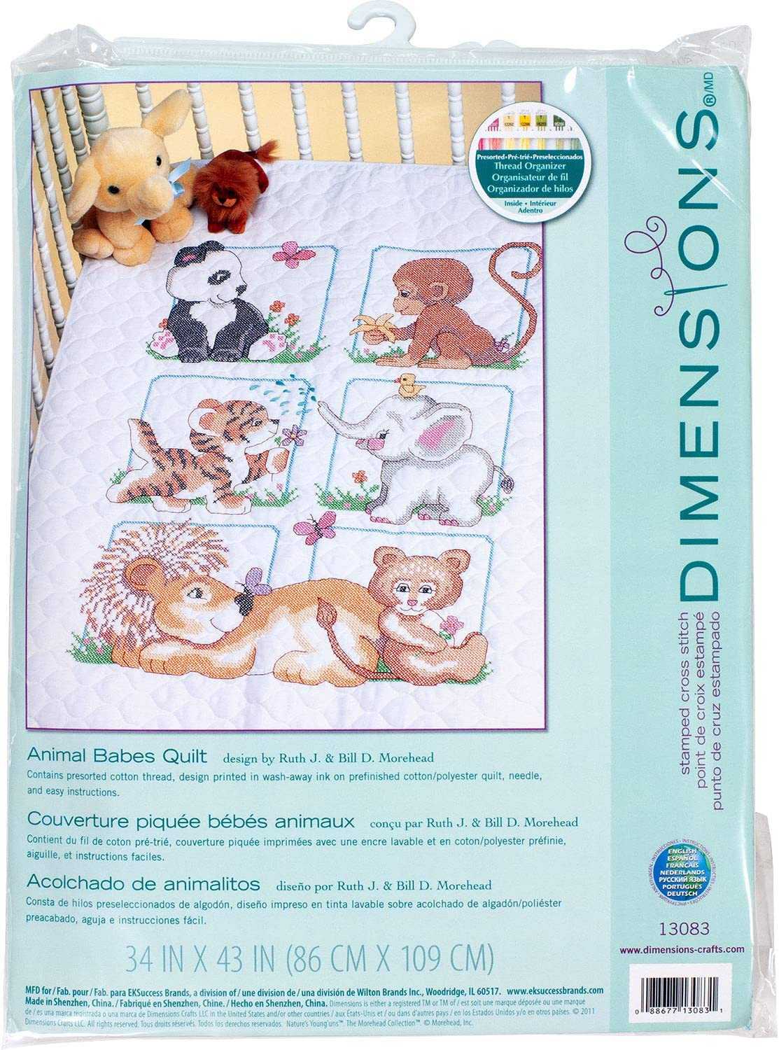 Dimensions Stamped Cross Stitch Baby Animals DIY Baby Quilt Kit, 34'' x 43''