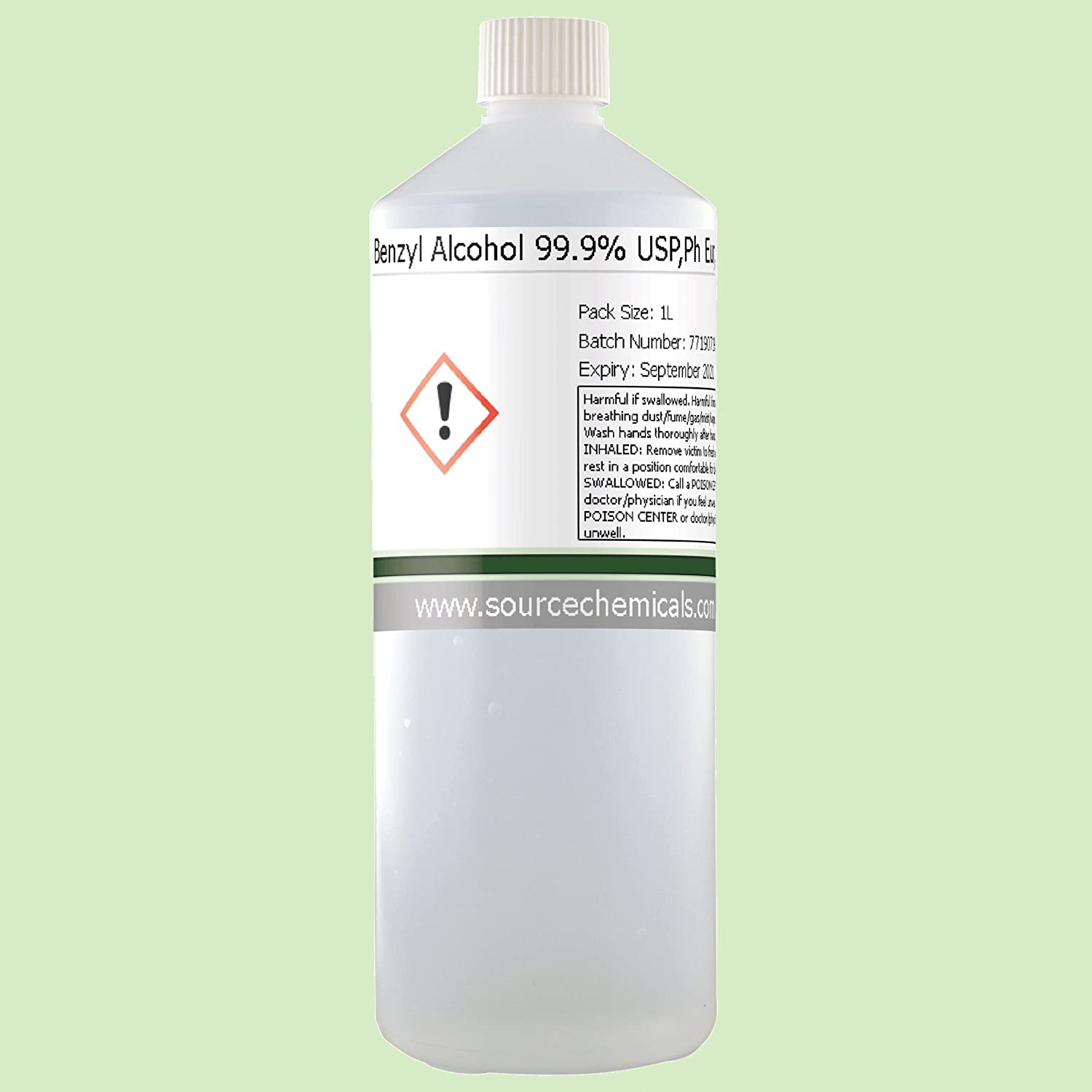 Benzyl Alcohol 99.9% USP, Ph Eur, BP, ACS 1 Litre (1L) Including Delivery Source Chemicals BENZYLALC-1L