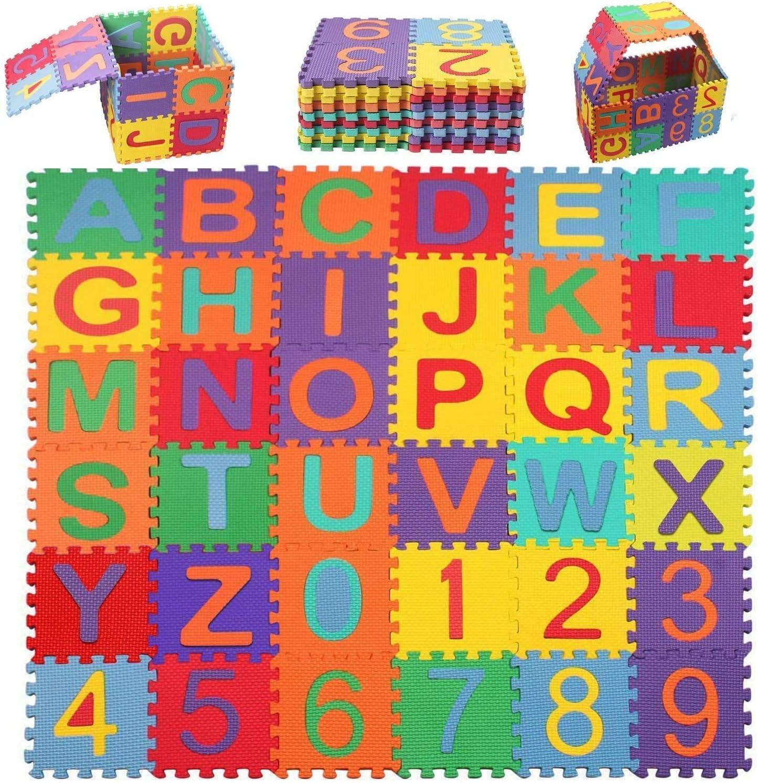 Alfombra Puzzle Bebe swonuk Alfabeto y Número Alfombrillas para Puzzles Espuma Estera 36pcs