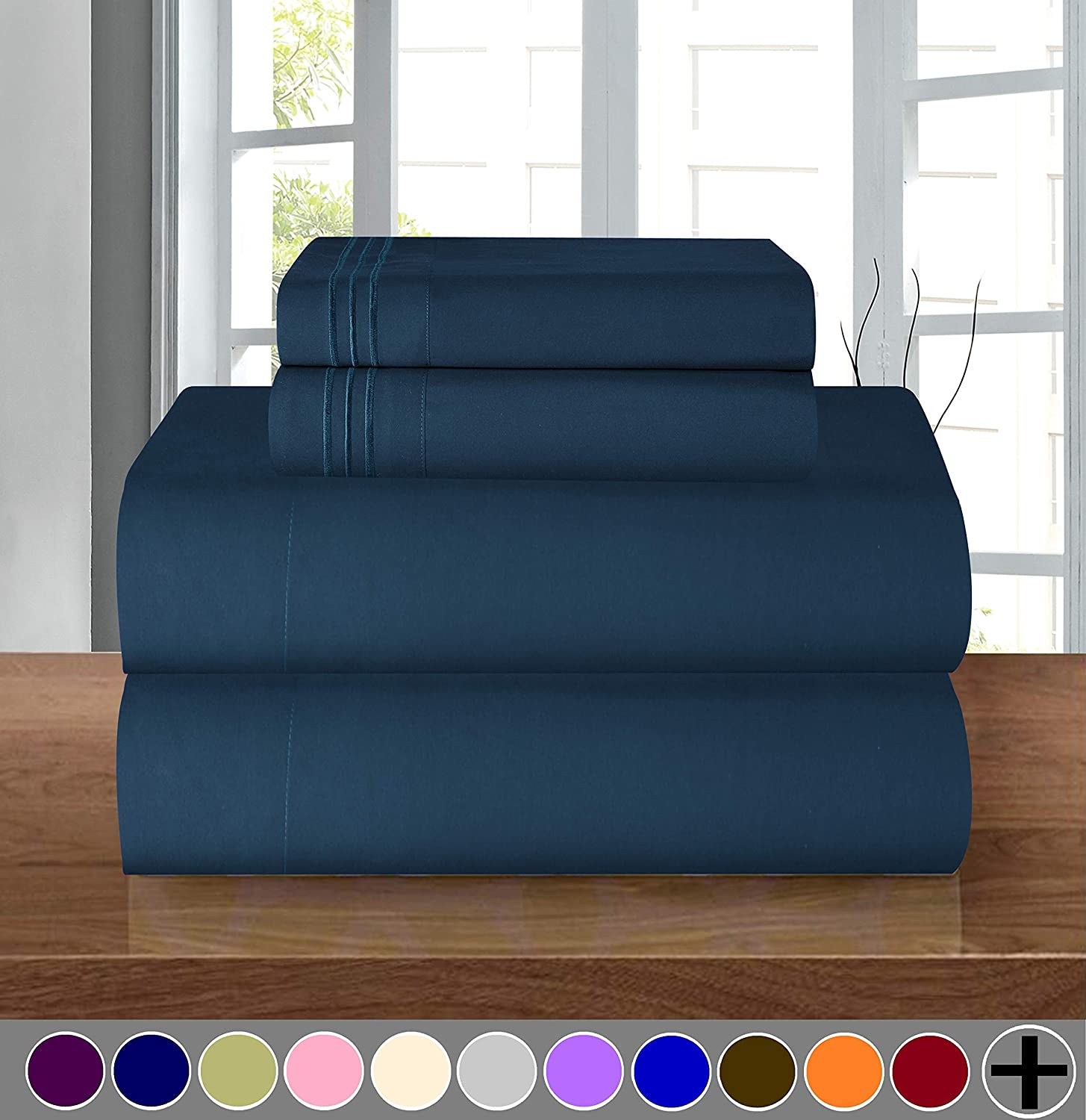 Elegant Comfort Luxury Soft 1500 Thread Count Egyptian 4-Piece Premium Hotel Quality Wrinkle and Fade Resistant Coziest Bedding Set, Easy All Around Elastic Fitted Sheet, Deep Pocket up to 16inch, King, Navy Blue