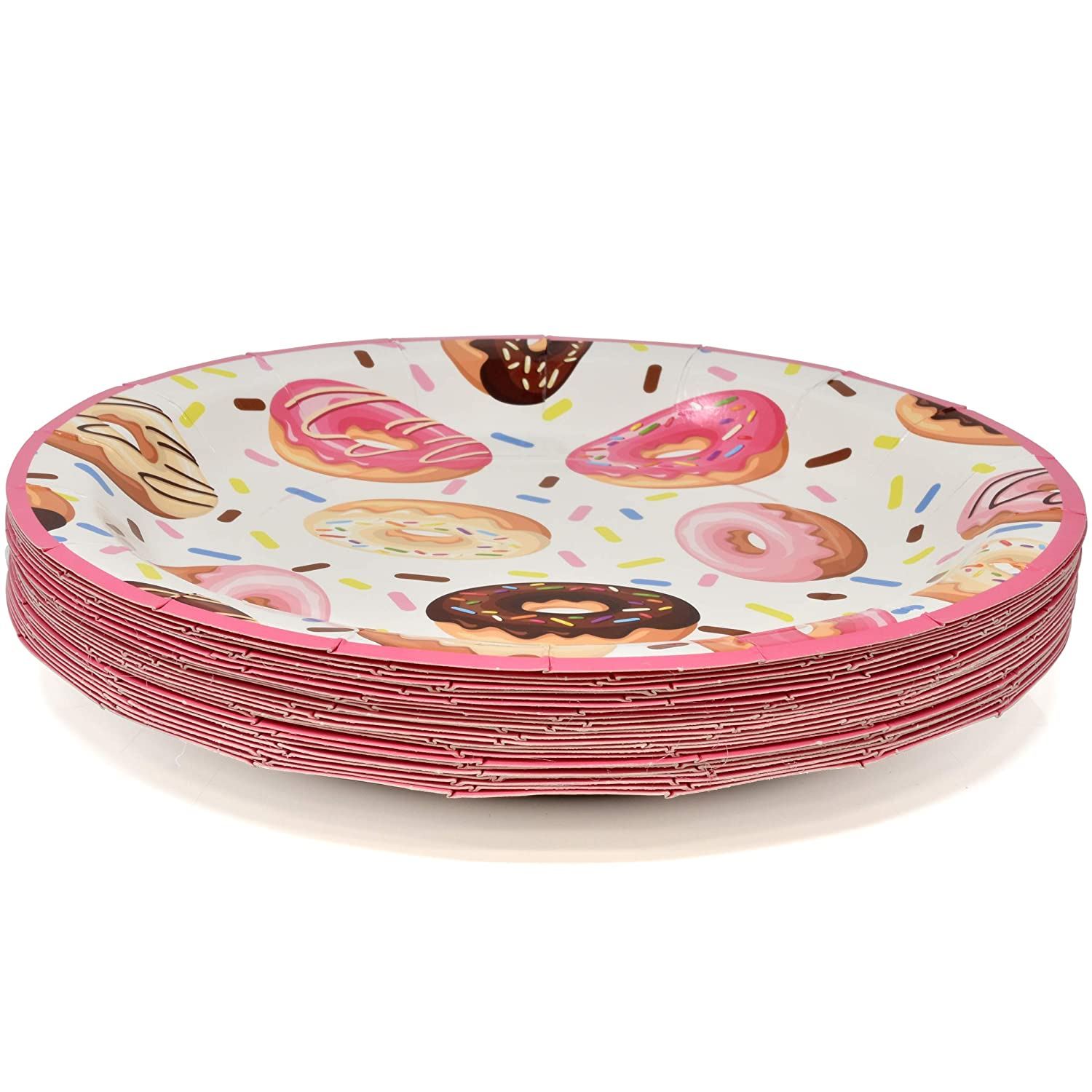 Donuts Party Supplies Tableware Set 24 9 Dinner Plates 24 7 Plate 24 9 Oz Cups 50 Lunch Napkins Doughnut Sprinkles Themed Disposable Paper Goods For Girls Boys Baby Shower