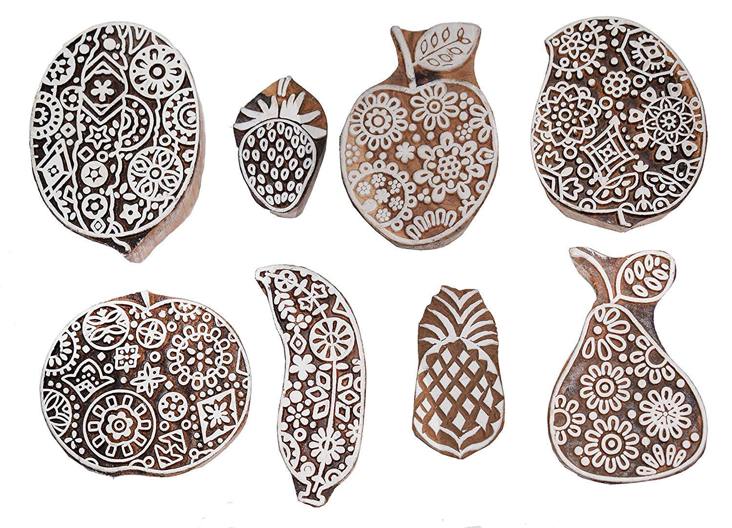 BARREL CRAFTS GALAXY Printing Stamps Fruits Design Wooden Blocks (Set of 8) Hand-Carved for Saree Border Making Pottery Crafts Textile Printing