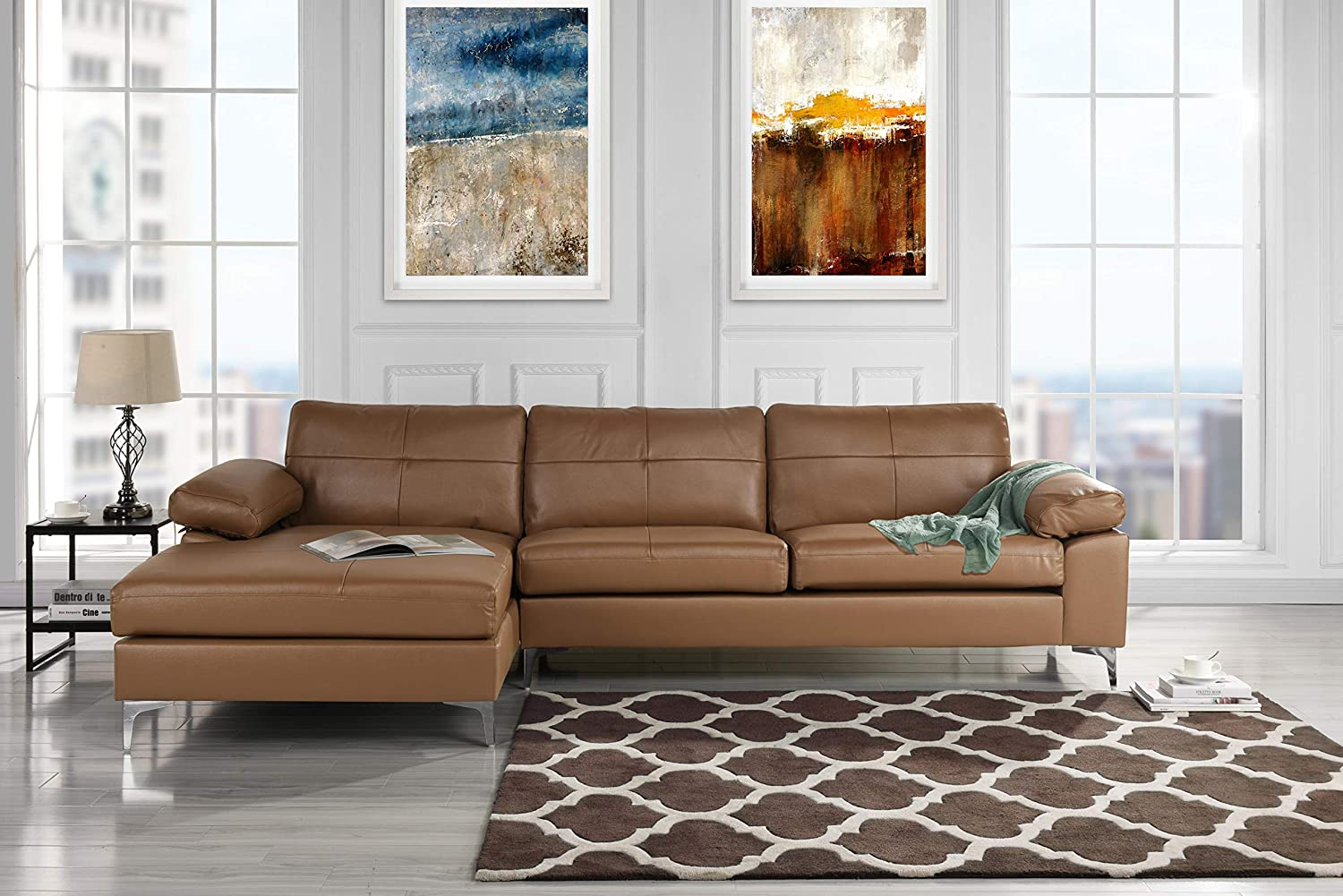 Leather Sectional Sofa L Shape Couch With Chaise Light Brown