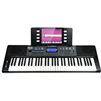 RockJam RJ461 61-Key Portable Electric Keyboard Power Supply, Sheet Music Stand, Pitch Bend and Simply Piano App