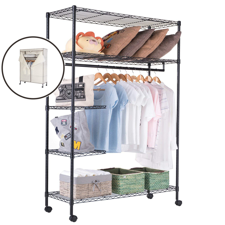 JS HOME Closet Garment Rack Heavy Duty Clothes Wardrobe Rolling Clothes Rack Closet Storage Organizer with Hanger Bar Black