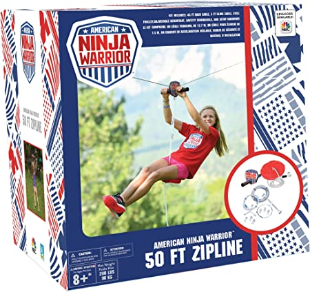 Amazon.com: ANW American Ninja Warrior Zipline: (80ft & 50ft ...