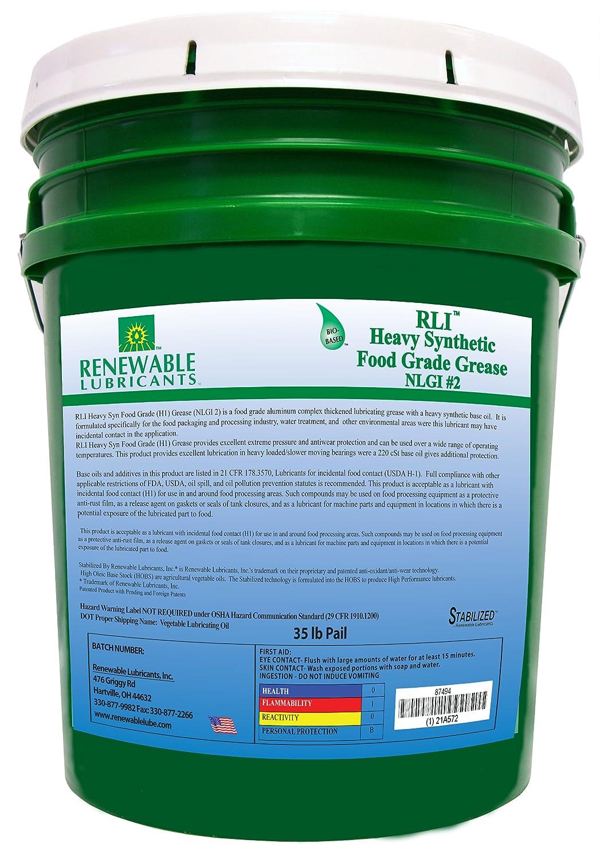 Renewable Lubricants Heavy Synthetic Food Grade NLGI 2 Grease, 35 lbs Pail