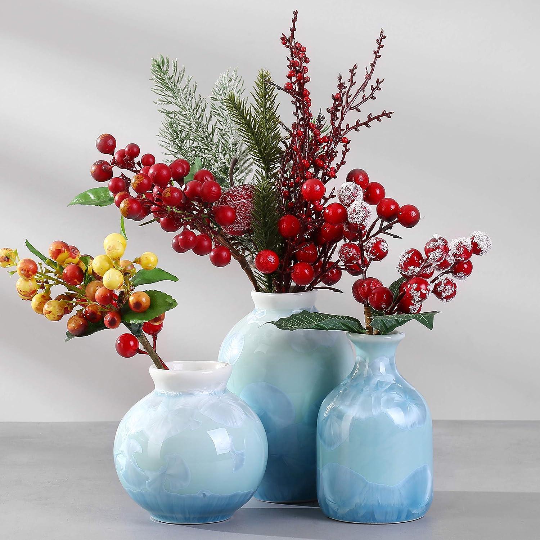 Set of Three Various Shape Ceramic Vase Set Mantel Décor Vase Centerpiece Vase Set (FlowerGreen)