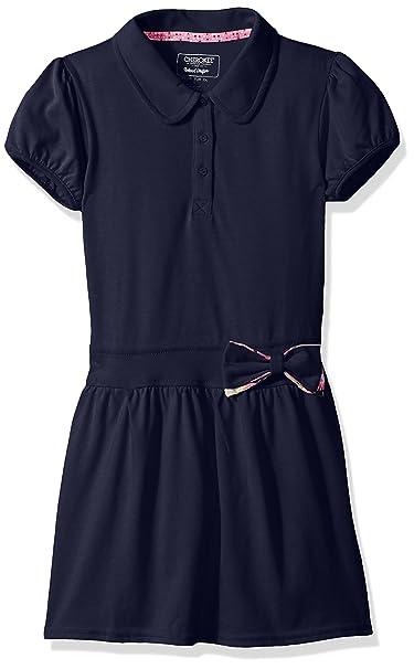 3b8011322fe5 CHEROKEE Little Girls' Uniform Polo Dress, Navy Bow, ...