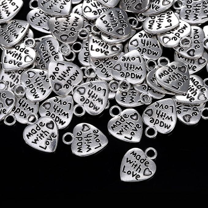Sumind 60 Piezas Dijes de Coraz/ón de Plata Antiguo Dije Colgante de Made with Love para Manualidades Fabricaci/ón de Bisuter/ía Accesorios