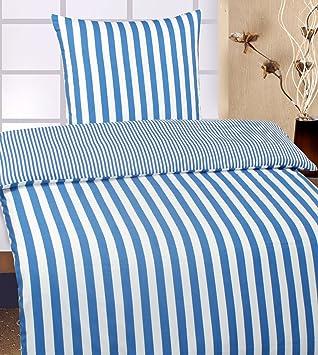 2 Tlg Wende Bettwäsche übergröße 155 X 220 80x80cm Blau Weiss