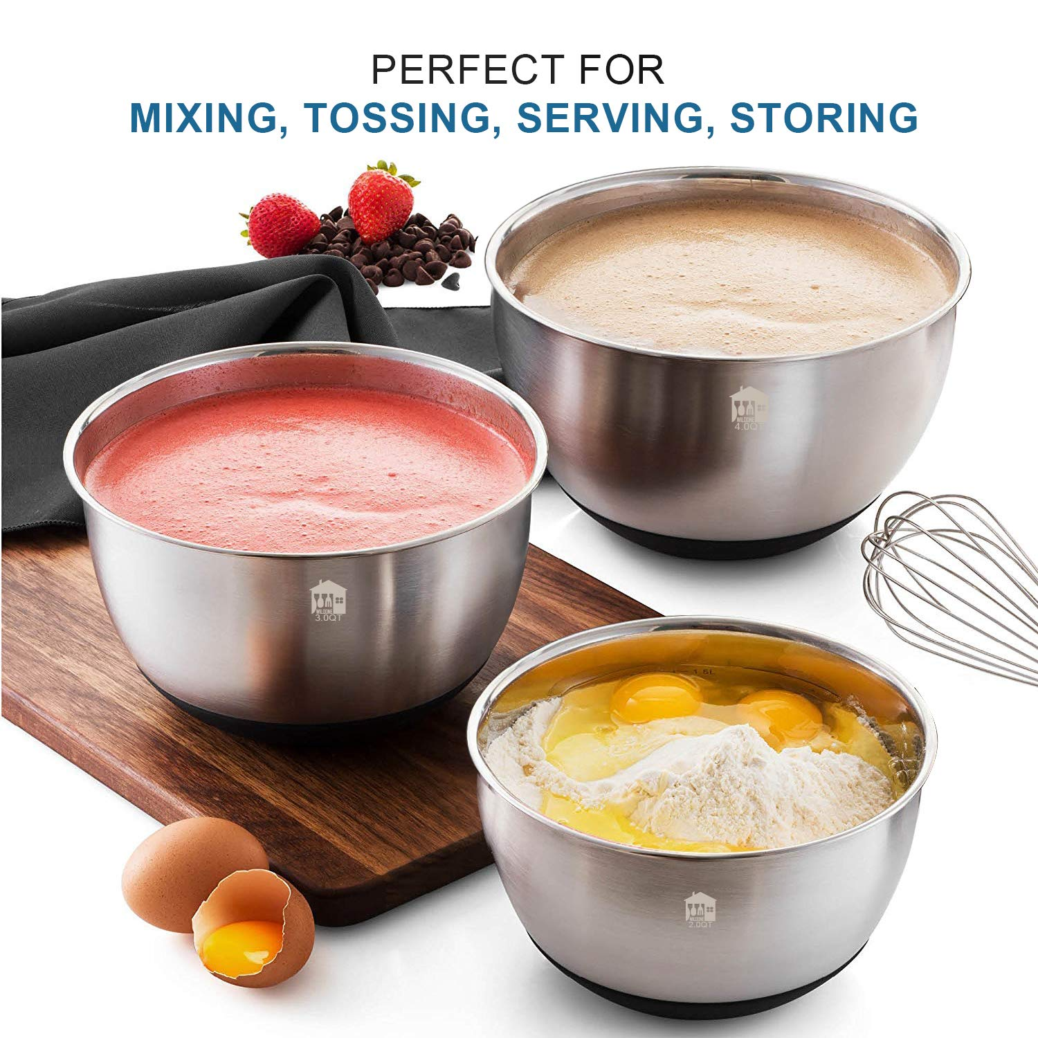 Wildone Stainless Steel Mixing Bowls, Nesting Bowls with Airtight Lids, Measurement Marks, Non Slip Silicone Bottoms, for Easy Mixing & Prepping - Set of 6 by Wildone (Image #4)