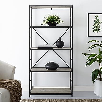 WE Furniture AZS60RMWGW Mixed Material Bookshelf Grey Wash