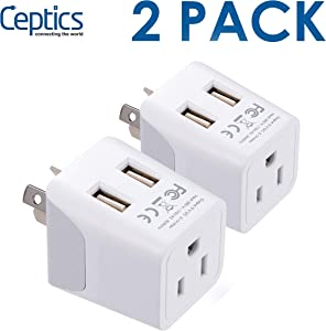 Travel Adapter Plug with USB for Australia, New Zealand, China by Ceptics, Dual USB Input - Ultra Compact - USA to Type I - Perfect for Cell Phones, Chargers, Cameras and More (2 Pack CTU-16)