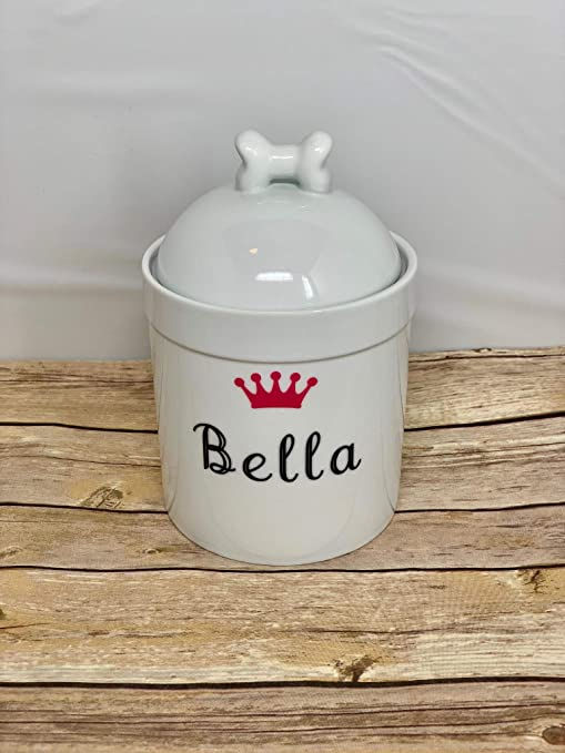 dcfe6d097a00 Pucci Pet Apparel Personalized Dog Treat Jar and Canister with Name and  Crown - Dog Bone
