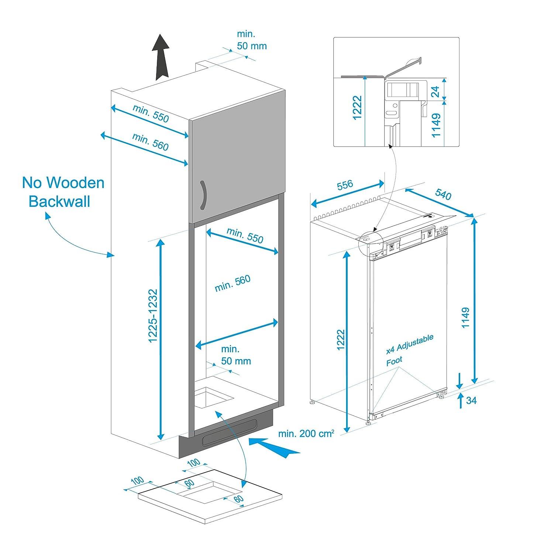 Beko BSS Einbau Kühlschrank A A 122 50 cm Höhe 122