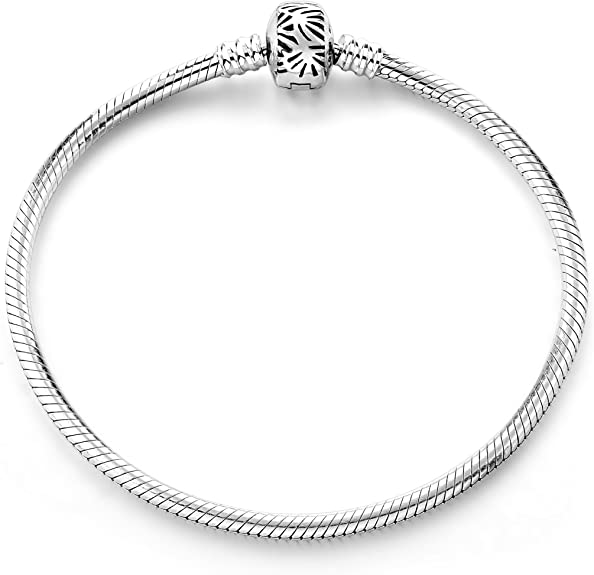 MIABELLA 925 Sterling Silver Snake Chain Charm Bracelet />NEW/< Size 6.5