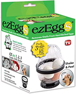 EZ EGGS Hard Boiled Egg Peeler, 3 Egg Capacity – Handheld Specialty Kitchen Tool Peels Egg Shells in Seconds (As Seen on TV)