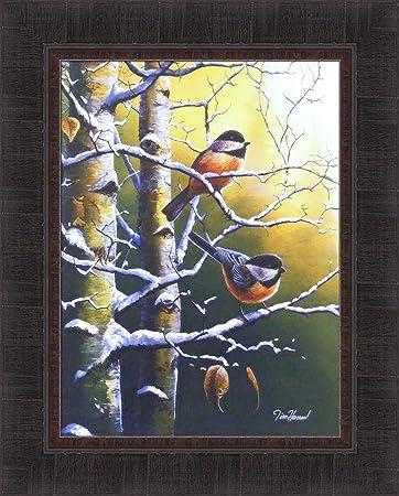 Winter Refuge – Chickadees by Jim Hansel 17×21 Birds Snow Tree Wildlife Framed Art Print Wall D cor Picture
