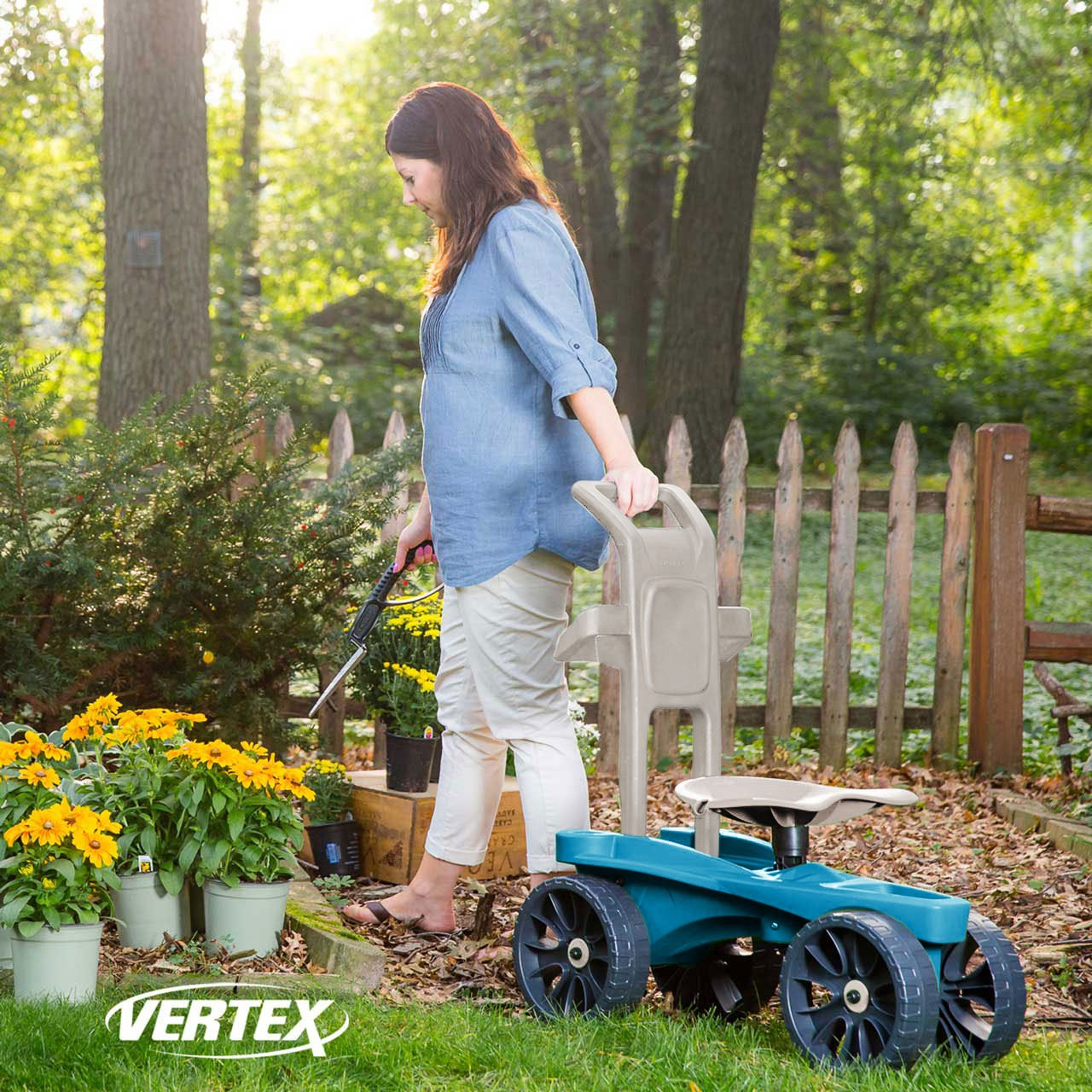 Easy Up Deluxe XTV Rolling Garden Seat and Scoot - Adjustable Swivel Seat, Heavy Duty Wheels, and Ergonomic Design To Assist Standing, Sitting, and Bending Over Made in the USA (Deluxe XTV Teal) by Vertex (Image #4)